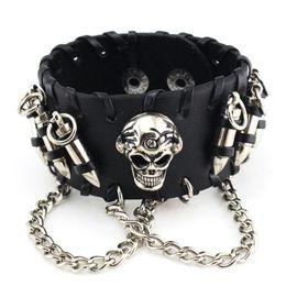 $enCountryForm.capitalKeyWord NZ - 2018 Black White Brown Rock Punk Biker Men's Gothic Cowhide Leather Bangle Skeleton Chain Wristband Bracelet Jewelry S3