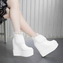 White Fur High Fashion Boots NZ - 14cm Heel Women Ankle Boots Whiter Fur Platform Wedge Boots Fashion Round Toe High Heels Boots