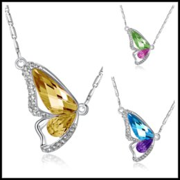 Women Fashion Jewelry Dreamful Enamel Butterfly Crystal Pendant Chain Necklace