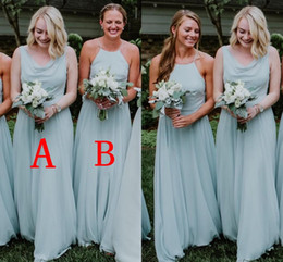 Chinese  Dusty Blue Country Style Chiffon Bridesmaids Dresses Cheap 2019 A Line Halter Neck Boho Garden Beach Maid of Honor Gowns Custom Made BM01689 manufacturers