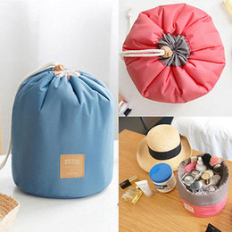 barrel shaped travel cosmetic bag NZ - New Arrival Barrel Shaped Travel Cosmetic Nylon Bag High Capacity Drawstring Elegant Drum Wash Bags Makeup Organizer Storage Bag