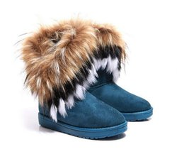 Discount snow padded shorts - Free shipping Women's Boots autumn and winter snow boots Feathers fox fur flat-bottomed short cotton-padded shoes w