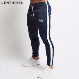 Sport Jogging Pant Man Canada - 2018 Compression Jogging Pants Men Fitness Running Tights Quick Dry Workout Sweatpants Striped Gym Sport Leggings Trousers Male