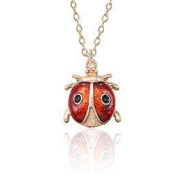 ladybird ladybug 2019 - DIY Cute Ladybug Necklace For Women Kawaii Insect Pendant For Girls Ladybird Gold Metal Necklaces&Pendants Christmas Xma