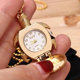 TurTle chain online shopping - 2018 Cute little Turtle pocket watches Cartoon golden tortoise necklace watch Alloy chain hanging pocket quartz watch Kids Children s Gift