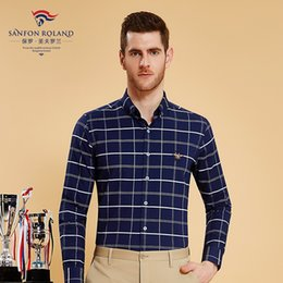 $enCountryForm.capitalKeyWord Canada - Sanfon Roland 2018 Mens Long Sleeve 100% Cotton Plaids Oxford Dress Shirt Men High Quality Regular Casual Shirts Brand Clothing SFL179337