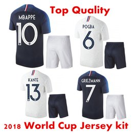 b9c63c853c5 3AAA+ 2018 World Cup Soccer Jersey set Mbappé Pogba National Team Home Blue Griezmann  Away white French football shirt kit Maillot de Foot
