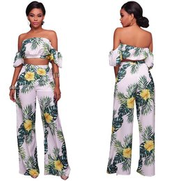 ladies holiday clothing 2019 - Summer women clothes suit Plant print fresh ins holiday style leisure Lantern sleeve two-piece ladies clothing Sexy Expo