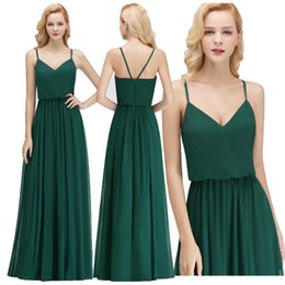 Chinese  2018 New Simple Cheap Bridesmaid Dresses with Spaghetti Straps V Neck Chiffon Wedding Guest Dress Brautjungfer Kleider Custom Made BM0032 manufacturers