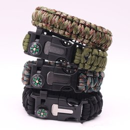 Wholesale New Design Multifunctional Outdoor Paracord survival bracelet inch length Compass Emergency Whistle Knife and Scraper KKA2175