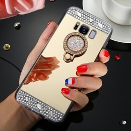 $enCountryForm.capitalKeyWord NZ - New Arrival cell phone cases For note 8 case Luxury Mirror Case Cover With Crystal Finger Ring Holder TPU Diamonds Phone Cases