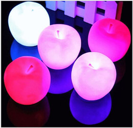Wholesale Wholesale Seven Color Changeable Led Apple Night Lights Lamp Kids Birthday Gifts Flash Toy Decoration Lights