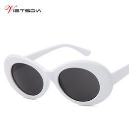 b2548dac8b911 VIETSDIA Women Clout Goggles Glasses Men NIRVANA Kurt Cobain Sunglasses  Female Male Oval Sun Glasses Black White Eyewear UV400