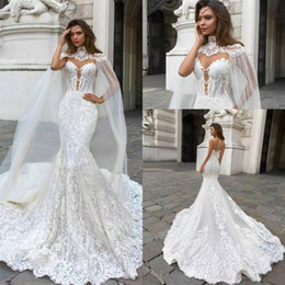 Chinese  2019 Gorgeous Lace Mermaid Wedding Dresses With Cowl Back Caped Sheer Mesh Top Applique Plus Size Bridal Wedding Gowns Vestidos De Novia manufacturers
