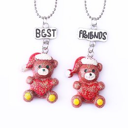 """Best Gift For Xmas Australia - 2PCS Pair """"Best Friends"""" Xmas Bling Red bear Necklaces Kids Imitation Necklace For Children Jewelry Birthday Chirstmas Gifts"""