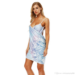 a4101e1e7f DropShip Wearable Women Beach Towel Dress Sexy Sling Beach Dress Sarong  Bikini Cover up Beach Wrap Skirts Open-Back Swimwear