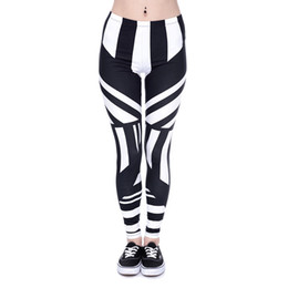 Chinese  Women Leggings Stripe Black White 3D Graphic Print Girl Skinny Stretchy Yoga Wear Pants Casual Jeggings Sport Tight Capris Trousers (J40581) manufacturers