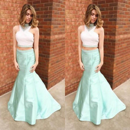 $enCountryForm.capitalKeyWord NZ - White Top Mint Skirt Prom Evening Dresses Two Pieces Mermaid Satin Rhinestones Sequin 2018 Plus size Formal Pageant Dress Gowns