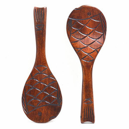 Nice stock online shopping - Elegant fish modelling wooden rice scoop nice environmental meal spoon non stick rice spoons safe kitchen tools free ship