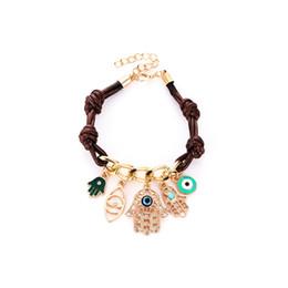 Moda Fátima Mão Hamsa Bracelet Evil Eye Pulseira para As Mulheres de Couro Pingente de Malha de Ligação Para As Mulheres Braço Fátima # 289243 venda por atacado