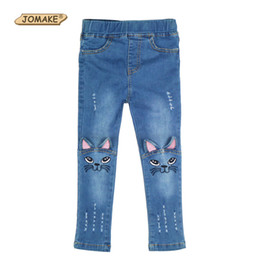 low waist cotton leggings UK - Girls Jeans 2017 New Fashion Cartoon Cat Baby Girl Pants Slim Skinny Kids Leggings Cotton Casual Children Trousers Girls Clothes