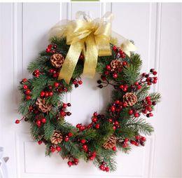 Discount Kitchen Ornaments Decorations   45 CM Christmas Pine Wreath Fruit  Nuts Rings Doors Ornaments Ornaments