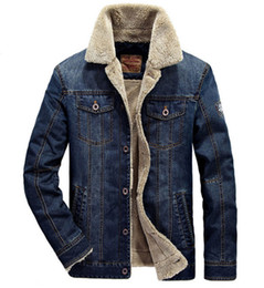 lamb stands UK - Winter Men Plus Velvet Thick Jacket Large Size Young Cotton Skirt Lamb Denim Jacket