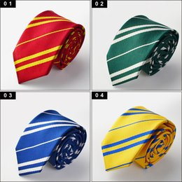 wholesale school ties NZ - New Arrival Striped Harry Potter Tie 4 colors school ties for men student Gryffindo Ravenclaw Hufflepuff Slytherin Neck tie