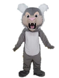 Wholesale lion mascot costumes adults online – ideas 2018 Discount factory sale good Ventilation a grey lion mascot costume with big mouth for adult to wear