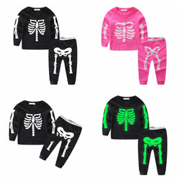 Kids blue tracKsuit online shopping - Ins Halloween Kids Luminous Skeleton Tracksuits suits Baby Skull Clothing Sets Night Light Long Sleeve Pullover Pants Outfit GGA1163