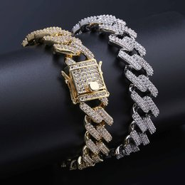 Wholesale 14mm Wide quot quot Miami Curb Cuban Chain Bracelet For Men Hip Hop Bling Iced Out Paved Rhinestones Gold Silver CZ Bracelets Jewelry