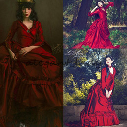 Gothic flowers online shopping - Mina Dracula Victorian Bustle prom occasion Gown vintage Halloween Gothic ruffles train plus size Taffeta Evening Formal dress