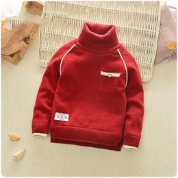 red color boys sweaters Australia - baby sweater winter 6-24M boys knitting turtleneck pullover children solid color Infant cashmere warm clothing