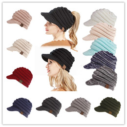 Discount camping hiking hats - 12 Colors Winter Knitted CC Hats CC Knitted Beanies Fashion Winter Ponytail Hat Back Hole Caps Casual Beanies Outdoor Ha