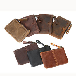 Small card wallet online shopping - Old cobbler s top leather goods Pouch Key coin purse High quality Small card bags Genuine leather Coin bag fashion Customized