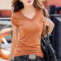 $enCountryForm.capitalKeyWord Canada - 2018 summer new pure V lead slim, short sleeved T-shirt, female stylish cotton half sleeved bottoming shirt, women's clothes, tide.