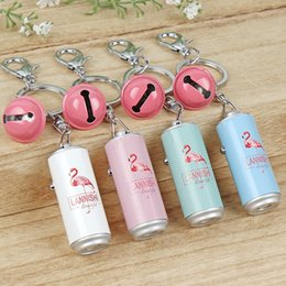 Flashlight Animal NZ - Creative Cans Projection Flashlight Keychains With Small Bell Bag Key Buckle Flamingo Pattern Keys Chain New Arrival 4 7rz BB