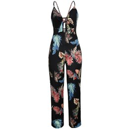 $enCountryForm.capitalKeyWord UK - Women Spaghetti Strap Jumpsuit Deep V-Neck Backless Sleeveless Floral Print Club Playsuits Bodysuits Casual