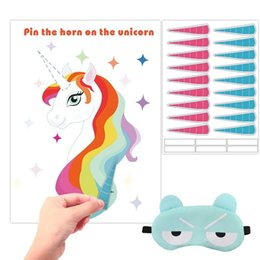 unicorn wall sticker NZ - Unicornio Wall Sticker Party Ornament Supplies Cartoon Pin The Horn In Unicorn Poster Children Game Give Eyepatch 15 3hb ff