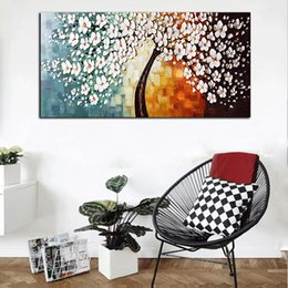 Free Gift Picture NZ - Free Shipping Large Abstract HD Print Red White Flowers Oil Painting On Canvas Wall Art Picture Gift For Living Room