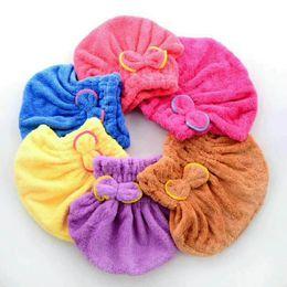 $enCountryForm.capitalKeyWord Australia - Shower cap quick dry hair towel absorbing bathing cap hair drying ponytail holder cap lady coral fleece hair hooded towel textiles