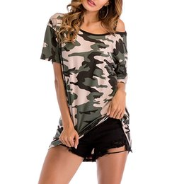 0ad1ecfe6c17 Off shOulder batwing sleeve t shirt online shopping - Camouflage off the  shoulder short sleeved T