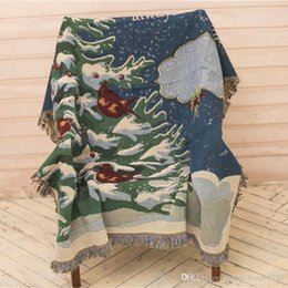 Discount thread crochet pattern - New Christmas tree pattern tassel decoration cotton material soft and comfortable blanket shawl Christmas family gift