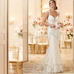 Wholesale Sexy Open Back Lace Mermaid Wedding Dresses New Arrival Real Photo Bride Dress Beach Long Train Wedding Gowns