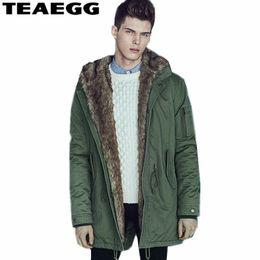 4bcc2ddea18 TEAEGG High Quality Men s Winter Long Jacket Parka Hood Thick Army Green Cotton  Mens Winter Coat Chaqueta Invierno Hombre AL120