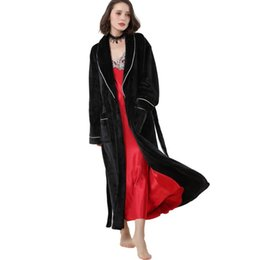 619224b2f8 Long Sleeve Fleece Nightgown UK - Microfiber Fleece Bathrobe Winter Ultra Long  Robes Loungewear Womern and