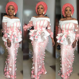 Wholesale Pastel Pink and White Evening Dresses Illusion Ruffles Bodice Aso Ebi Style Party Prom Gowns D Appliques Long Sleeve Mermaid Dresses