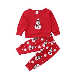 292cc487f Christmas Clothes Newborn Baby Clothes Set Boys Girls Snowman Print Long  Sleeve Hoodies Tops Pants Xmas Baby Infant Clothing Set