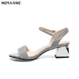 21c7ba84d1ba wholesale New Shoes woman Genuine Leather low Heels Sandals Summer gingham square  Heel Sandals Ladies Party Shoes size 9 10 11 12