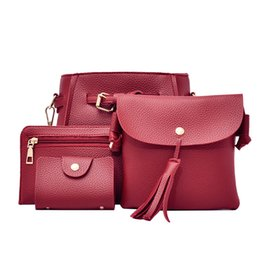 8a6764ef2245 Fashion PU Leather Bag Set for Women Solid Soft PU Femme Designer Messenger  Shoulder Bags Crossbody Bag Handbags 4 Piece Set